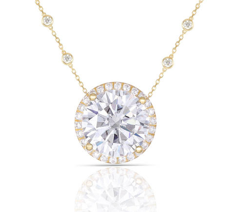 14K Yellow Gold 5ct Moissanite Halo Pendant