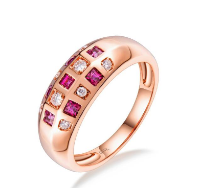 14K Rose Gold Genuine Ruby Gemstone Band Rings - Medusa Jewels