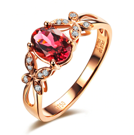 18K ROSE GOLD BUTTERFLY 0.6CT RUBELLITE RED TOURMALINE OVAL CUT DIAMOND RING - Medusa Jewels