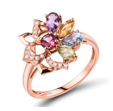 14K Rose Gold Colorful Tourmaline, Peridot, Amethyst, Topaz Ring - Medusa Jewels