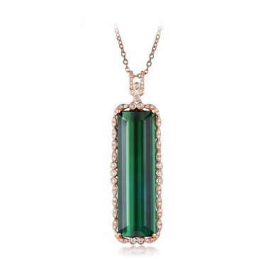 18k Rose Gold Emerald Cut 23.29Ct Green Tourmaline Pendant - Medusa Jewels