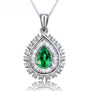 18Kt White Gold 1.06Ct Pear Emerald Ring
