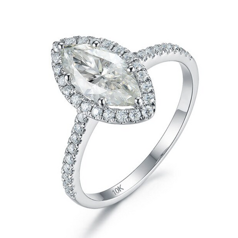10K White Gold 1.5Ct Marquise Moissanite Ring
