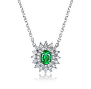 14K White Gold 0.39Ct Oval Emerald Pendant