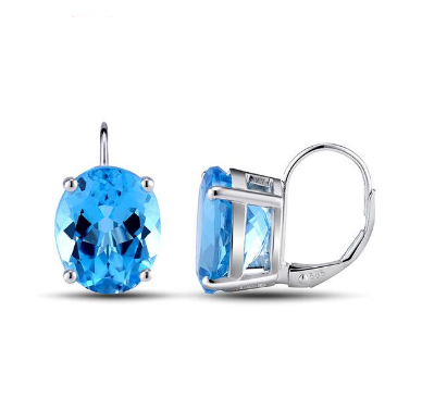 14K White Gold 12.65 Ct Topaz Earrings - Medusa Jewels