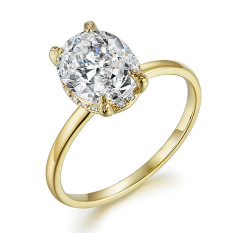 10K Yellow Gold Oval Moissanite Solitaire Ring
