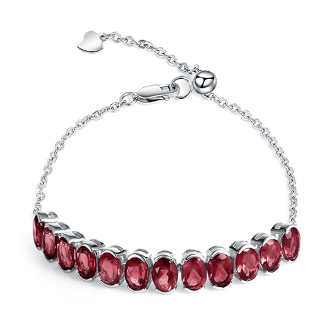 925 Sterling Silver 12Ct Garnet Bracelet - Medusa Jewels