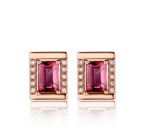18K Rose Gold Emerald Cut Tourmaline & Diamond Earrings - Medusa Jewels
