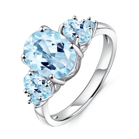 925 Sterling Silver 4.77Ct Oval Topaz Ring - Medusa Jewels