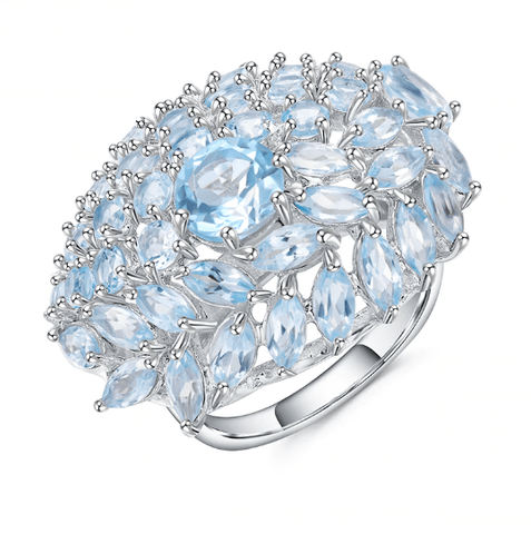 925 Sterling Silver 19.95Ct Sky Blue Topaz Ring - Medusa Jewels