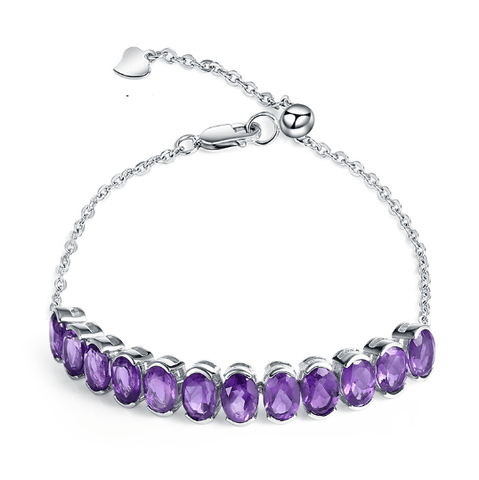 925 Sterling Silver 9.78Ct Amethyst Bracelet - Medusa Jewels