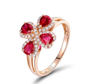 18K Rose Gold Flower Shape Ruby Engagement Gemstone Ring - Medusa Jewels