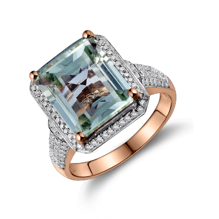 14K Rose Gold Emerald Cut Green Amethyst Diamond Ring - Medusa Jewels