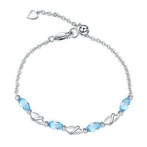 925 Sterling Silver 2.77Ct Swiss Blue Topaz Gemstone Bracelet - Medusa Jewels