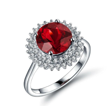 18K White Gold 3.2Ct Ruby & Diamonds Ring - Medusa Jewels