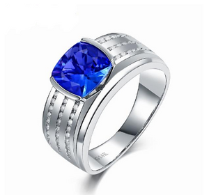 14K White Gold Romantic Tanzanite Men's Ring - Medusa Jewels