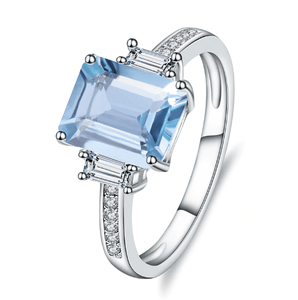 925 Sterling Silver Sky Blue Topaz Gemstone Ring - Medusa Jewels
