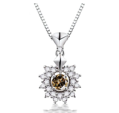 18K White Gold 0.49Ct Coffee Diamond Pendant - Medusa Jewels