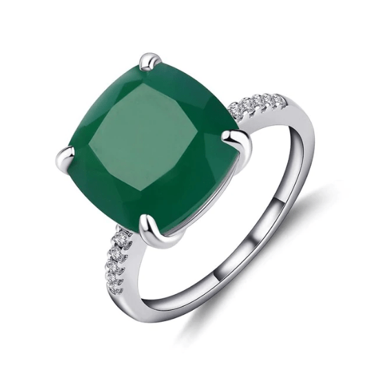 925 Sterling Silver 9.66Ct Green Agate Ring - Medusa Jewels