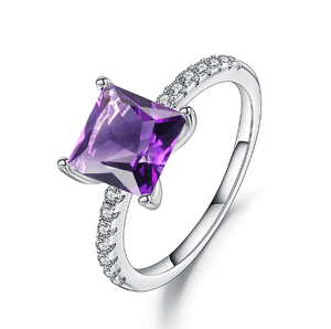 925 Sterling Silver 1.08Ct Princess Cut Amethyst Gemstone Ring - Medusa Jewels