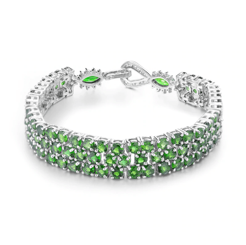 925 Sterling Silver 29.25Ct Chrome Diopside Gemstone Bracelet - Medusa Jewels