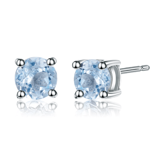 925 Sterling Silver 6mm 2.11Ct Round Blue Topaz Stud Earrings - Medusa Jewels