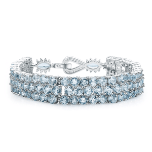 925 Sterling Silver Blue Topaz Gemstone Bracelet - Medusa Jewels