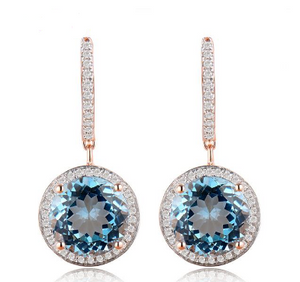 14Kt Rose Gold Vintage Diamond Blue Topaz Earrings - Medusa Jewels