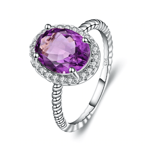 925 Sterling Silver 1.79Ct Oval Amethyst Ring - Medusa Jewels