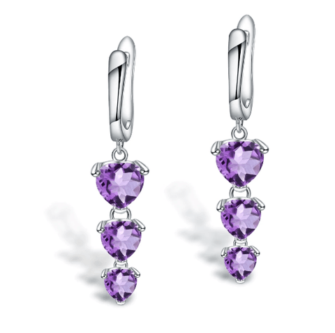 925 Sterling Silver Heart 4.86Ct Amethyst Drop Earrings - Medusa Jewels