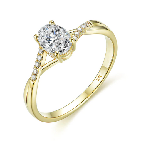 10K Yellow Gold 1Ct Oval Moissanite Ring