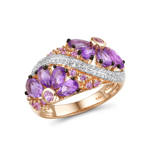 14K Rose Gold Pink Sapphire & Amethyst Band Ring - Medusa Jewels
