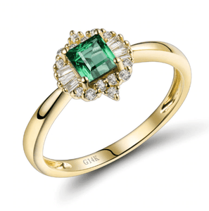 14kt Yellow Gold Emerald & Diamonds Engagement Ring - Medusa Jewels
