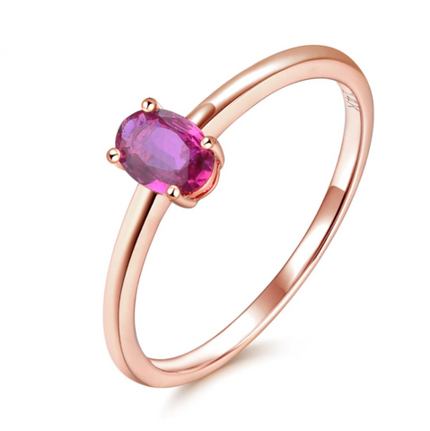 14K Rose Gold Oval Ruby Solitaire Ring