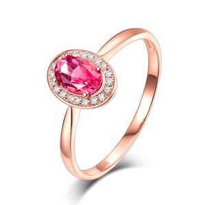14K Rose Gold Pink Tourmaline & Diamond Ring - Medusa Jewels