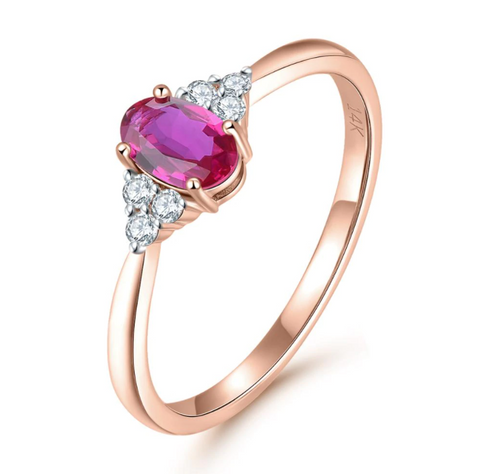 14K Rose Gold 6mm Oval Ruby Ring