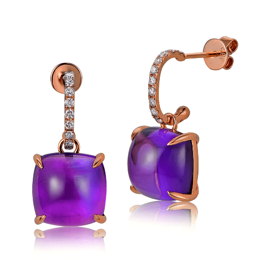 14K Rose Gold 10.05ct Cabochon Amethyst & 0.26ct Diamond Drop Earring - Medusa Jewels