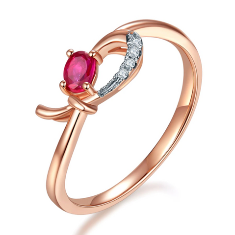 10K Rose Gold 0.17Ct Oval Ruby Ring