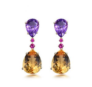 14K Yellow Gold Natural Amethyst Citrine Earrings - Medusa Jewels