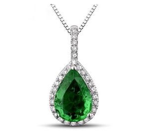 18K White Gold  Gorgeous Pear Cut Emerald Diamond Pendant - Medusa Jewels
