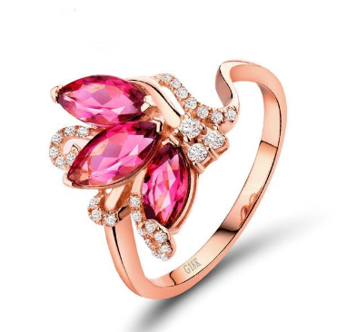 18K Rose Gold Marquise Shape Pink Tourmaline Diamond Ring - Medusa Jewels
