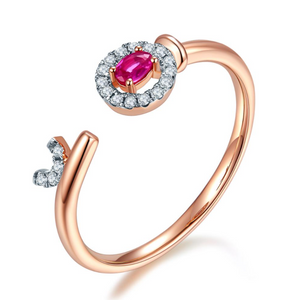 10K Rose Gold 3x2mm Ruby Ring