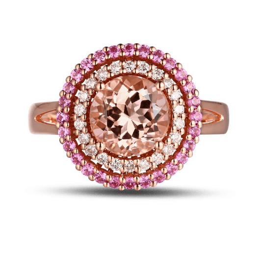 18K Rose Gold 1.54CT Morganite 0.22ct Diamond & Sapphires Engagement Ring - Medusa Jewels