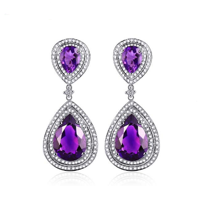 14Kt White Gold Pear Cut Purple Amethyst Earrings - Medusa Jewels