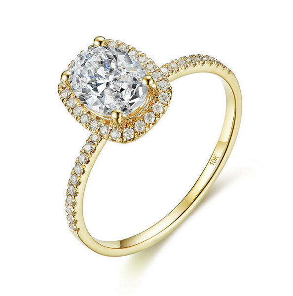 10K Yellow Gold 1.5Ct Oval Moissanite Solitaire Ring