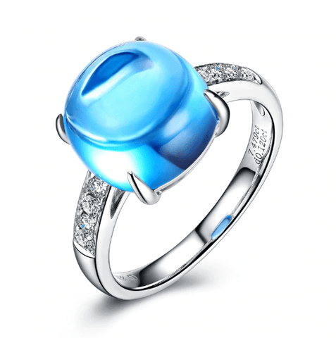18K White Gold 7.0Ct Blue Topaz & 0.12Ct Diamond Ring - Medusa Jewels