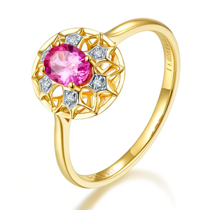 18K Yellow Gold Oval Ruby Ring