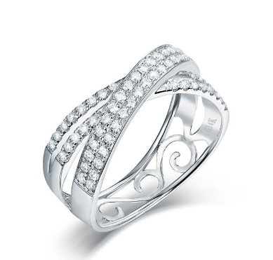 14K White Gold Luxury Diamond Wedding Ring - Medusa Jewels