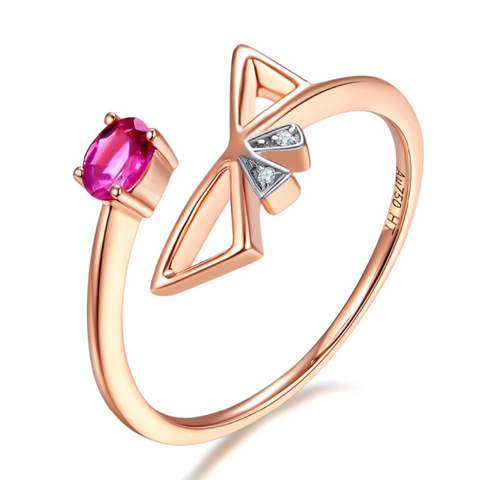 10K Rose Gold 0.8Ct Ruby Ring