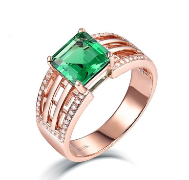 14K Rose Gold Natural Colombia Emerald Wedding Ring - Medusa Jewels